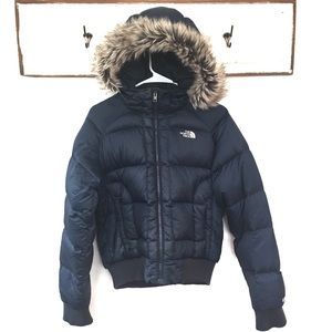 The North Face 550 Puffer Goose Down Coat Fur Hood